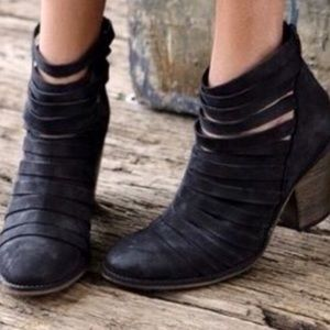 Free People Hybrid Black Strappy Ankle Booties